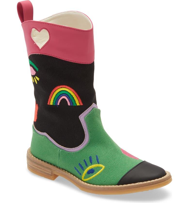 STELLA MCCARTNEY KIDS Rainbow Embroidered Western Boot, Main, color, MULTI