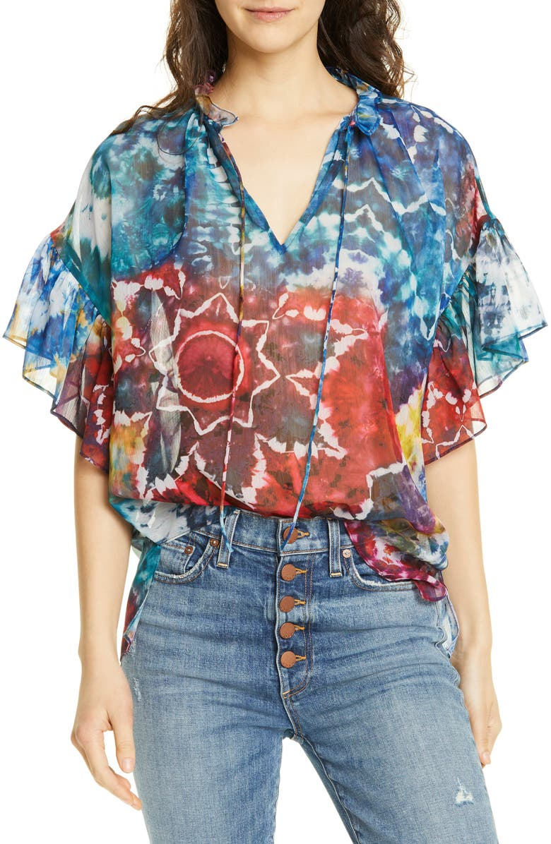 ALICE + OLIVIA Julius Ruffle Sleeve Tunic, Main, color, TIE DYE KALEIDOSCOPE