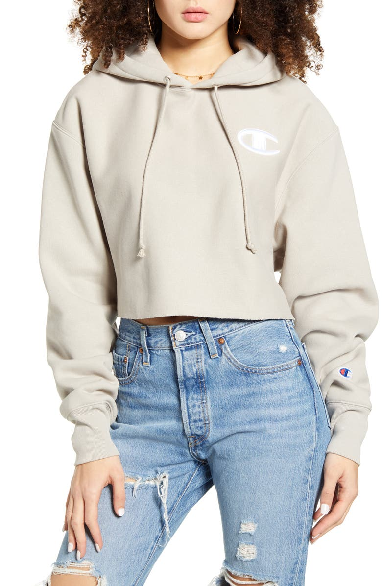 CHAMPION Reverse Weave Crop Hoodie, Main, color, CHATEAU GREY