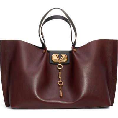 Valentino Garavani Large Go Logo Leather Tote - Brown