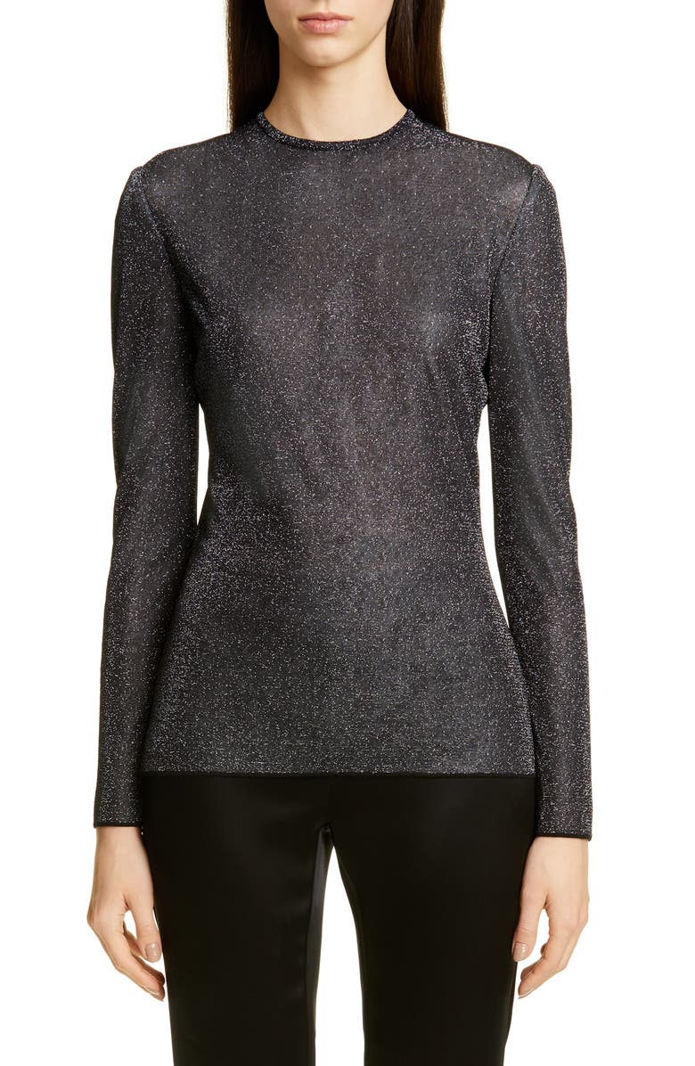 ST. JOHN COLLECTION Sparkle Sweater, Main, color, CAVIAR/ SILVER MULTI