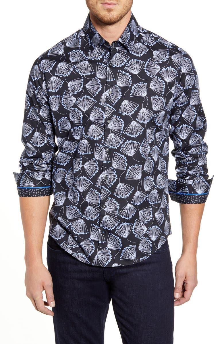 STONE ROSE Regular Fit Floral Button-Up Sport Shirt, Main, color, BLACK
