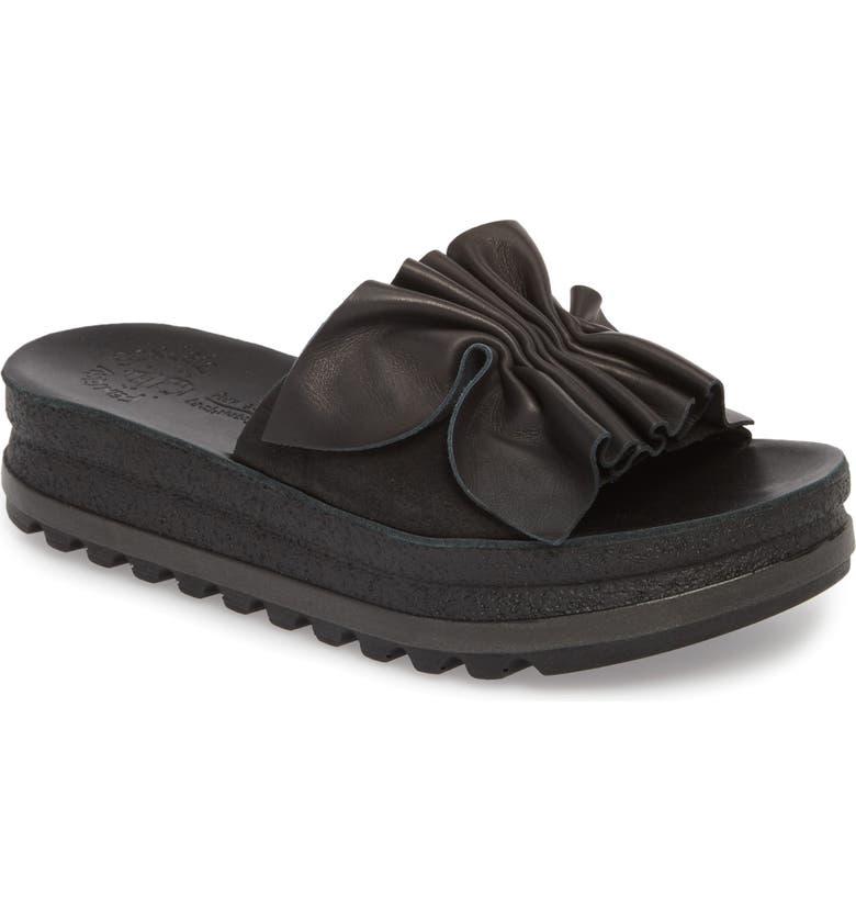 FANTASY SANDALS Fiorella Platform Slide Sandal, Main, color, BLACK LEATHER