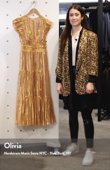 Justyne Metallic Stripe Silk Blend Maxi Dress, sales video thumbnail