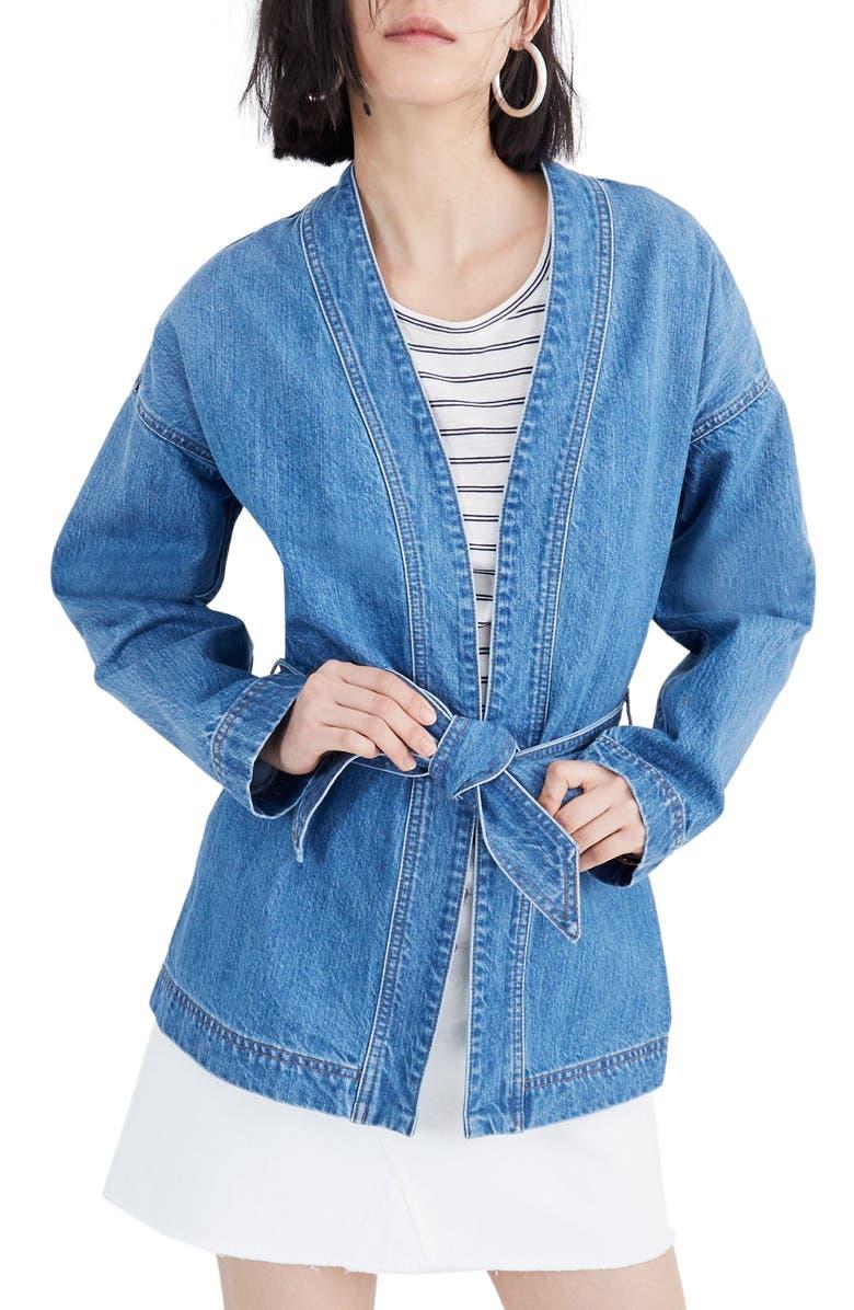 MADEWELL Denim Wrap Jacket, Main, color, 400