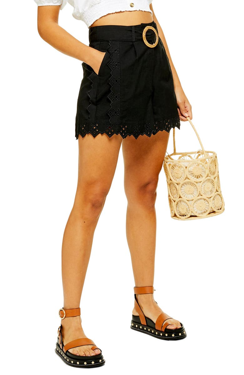 TOPSHOP Broderie Belted Shorts, Main, color, 001
