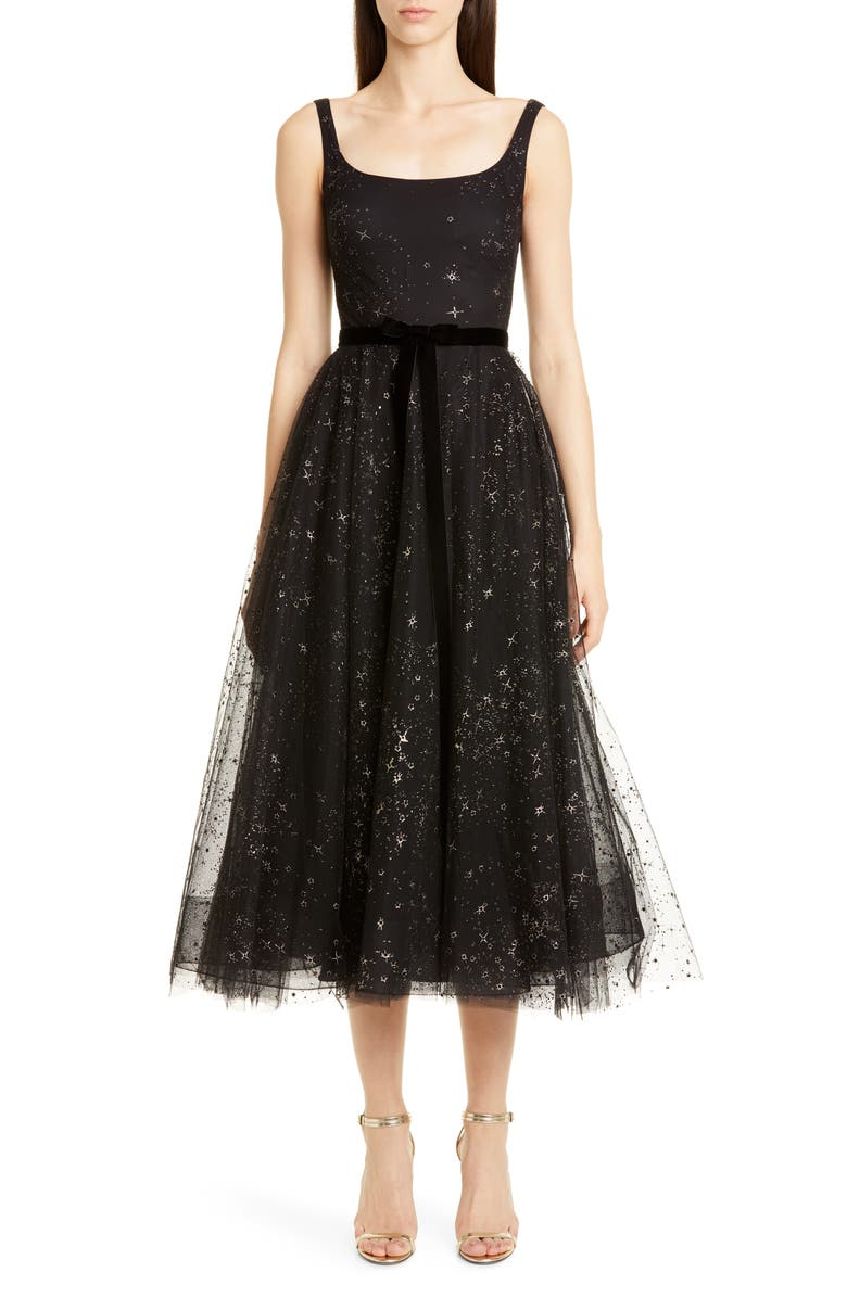MARCHESA NOTTE Glitter Star Tulle Cocktail Dress, Main, color, BLACK