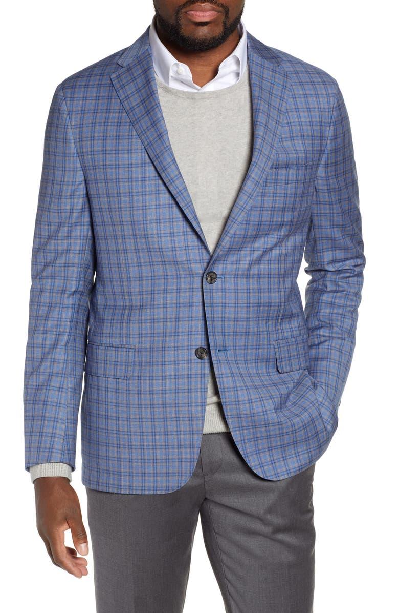 HICKEY FREEMAN Classic B Fit Plaid Wool Sport Coat, Main, color, 400