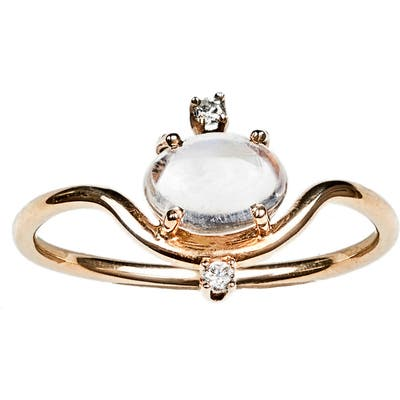Wwake Nestled Moonstone & Diamond Ring