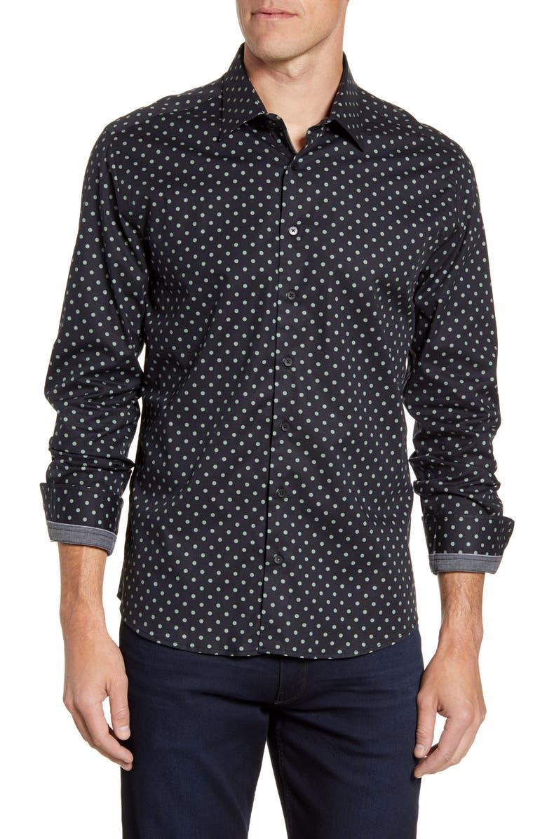 STONE ROSE Regular Fit Polka Dot Button-Up Sport Shirt, Main, color, BLACK