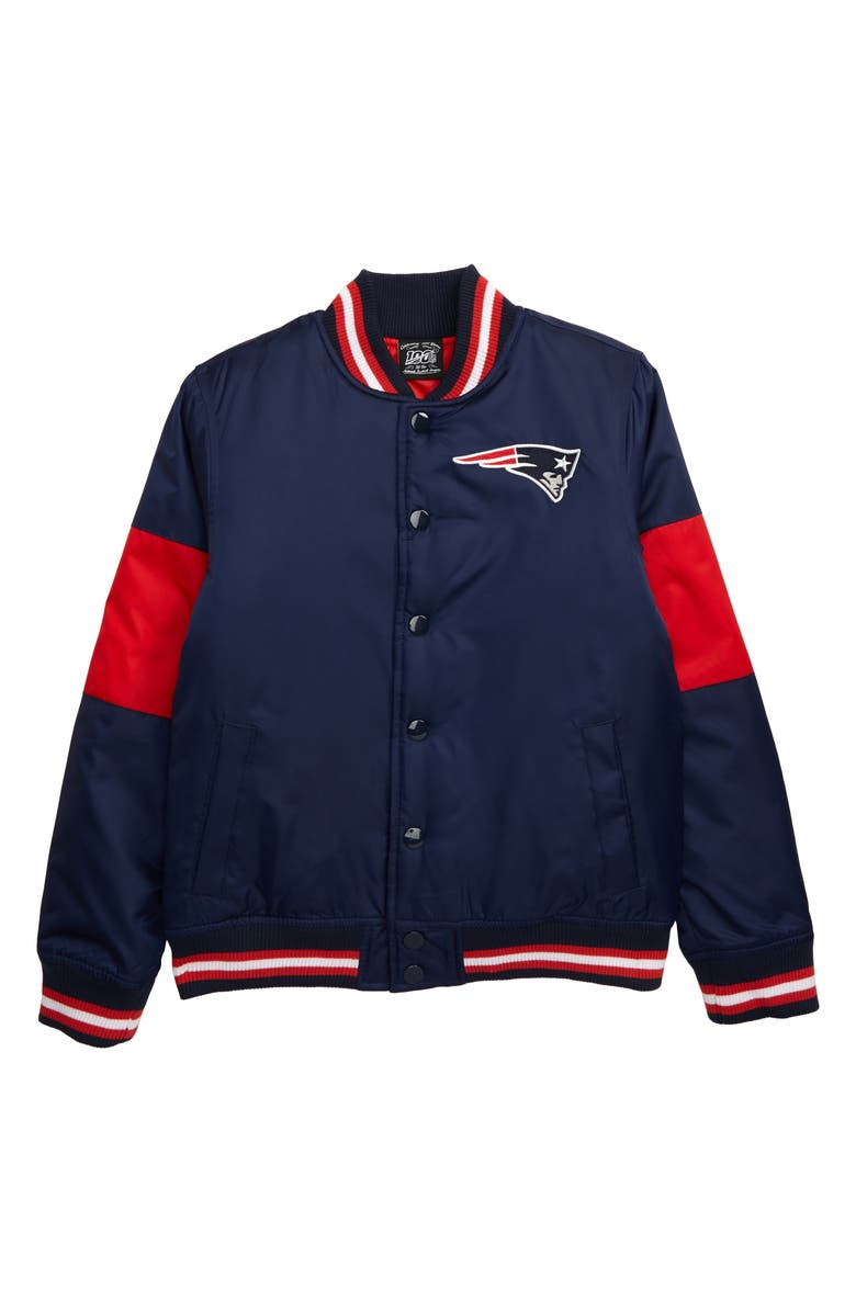 OUTERSTUFF NFL Logo New England Patriots Throwback Varsity Jacket, Main, color, COLLEGE NAVY