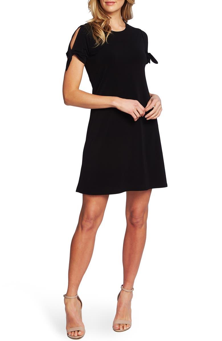CECE Tie Sleeve Crepe Dress, Main, color, RICH BLACK