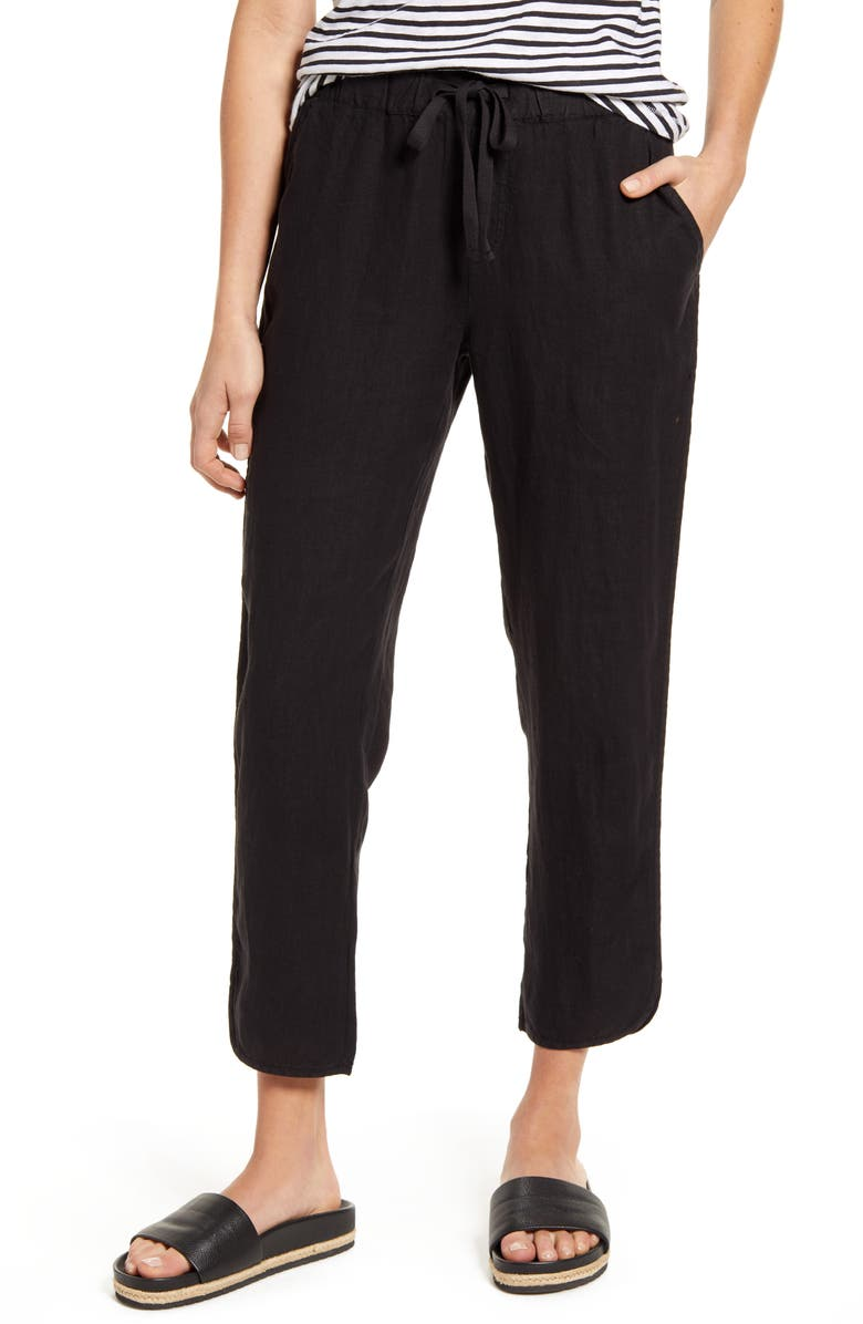 CASLON<SUP>®</SUP> Track Style Linen Pants, Main, color, BLACK