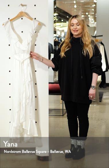 Samantha Ruffle Satin High/Low Faux Wrap Dress, sales video thumbnail