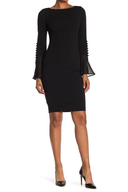 Image of Calvin Klein Chiffon Bell Sleeve Sheath Dress