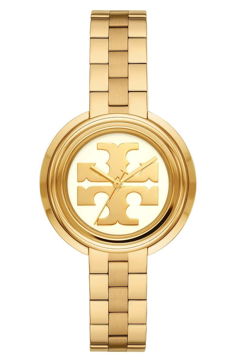 토리버치 Tory Burch The Miller Bracelet Watch, 34mm,yellow/ white gold
