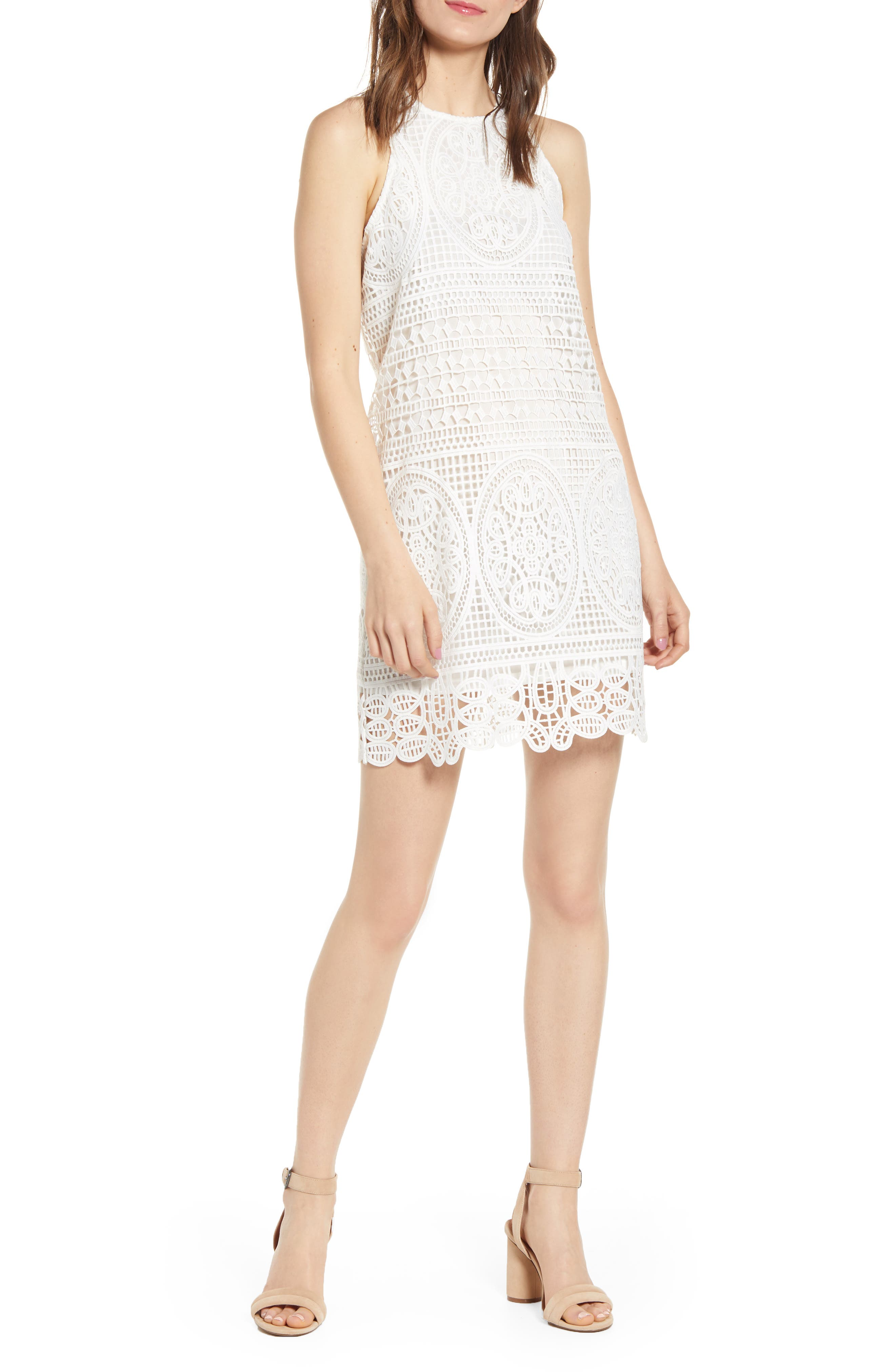 Bishop + Young Love In White Crochet Sleeveless Cotton Shift Dress, White