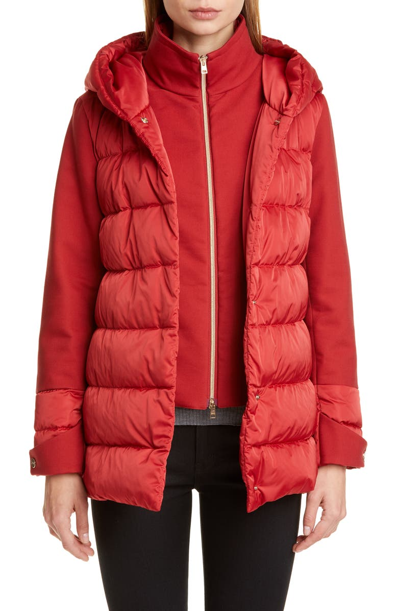 HERNO Hooded Down Jacket with Removable Windblocker, Main, color, ROSSO