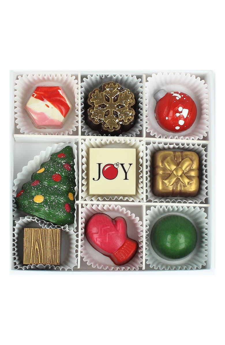 MAGGIE LOUISE CONFECTIONS Joyous Season 9-Piece Chocolates, Main, color, WHITE
