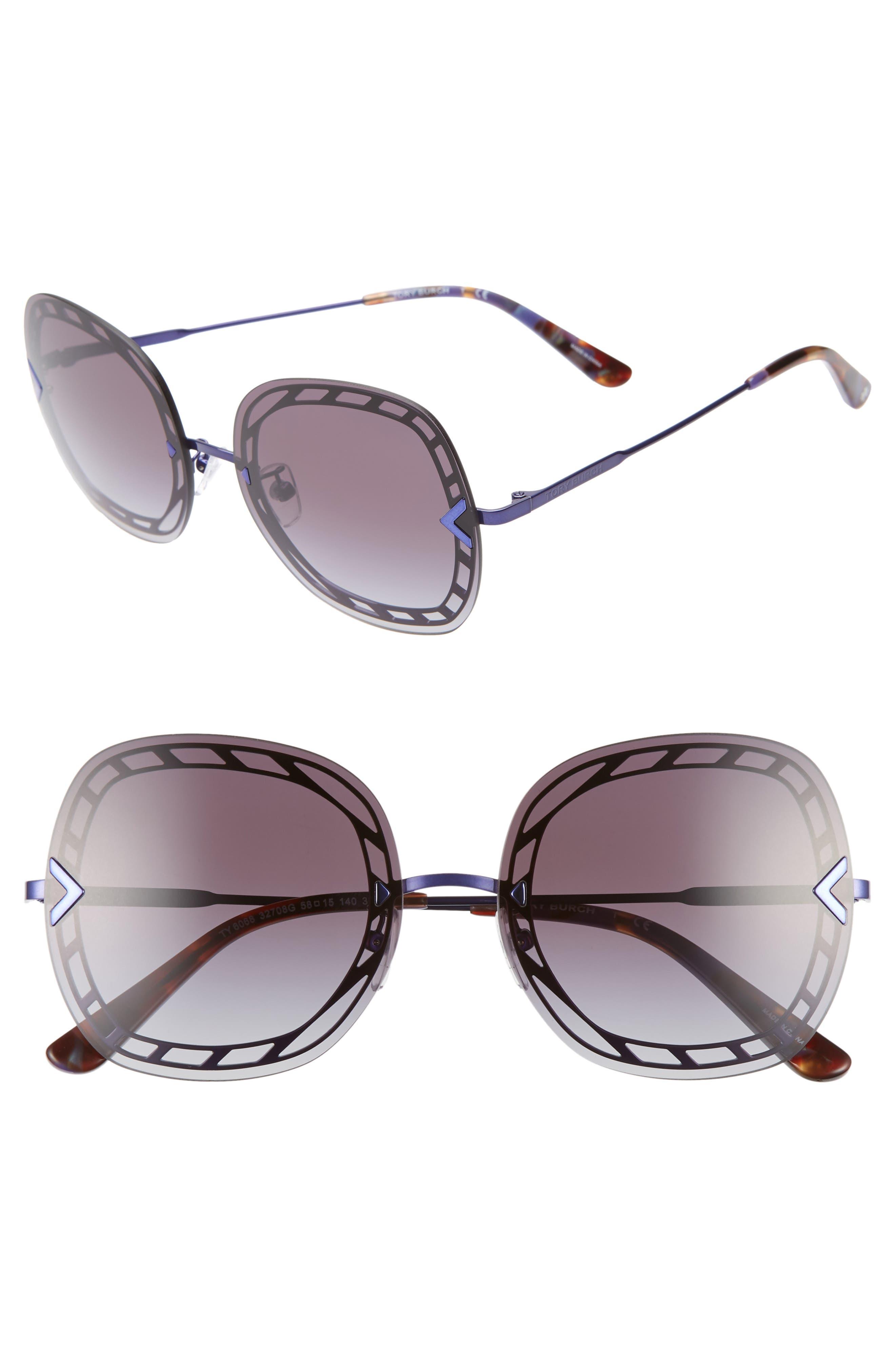 58mm Gradient Square Sunglasses, Main, color, 001