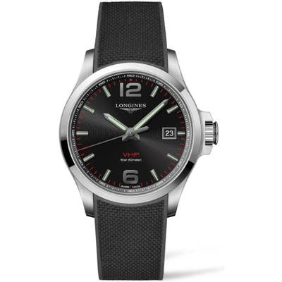 Longines Conquest V.h.p. Rubber Strap Watch, 4m