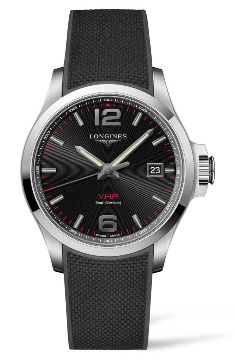 LONGINES Conquest V.H.P. Rubber Strap Watch, 43mm, Main, color, BLACK/ SILVER