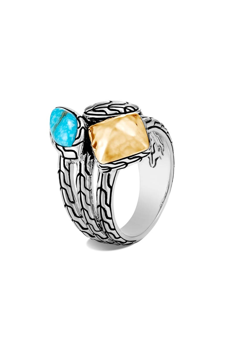 JOHN HARDY Classic Chain Hammered Cluster Ring, Main, color, GOLD/SILVER/ TURQUOISE