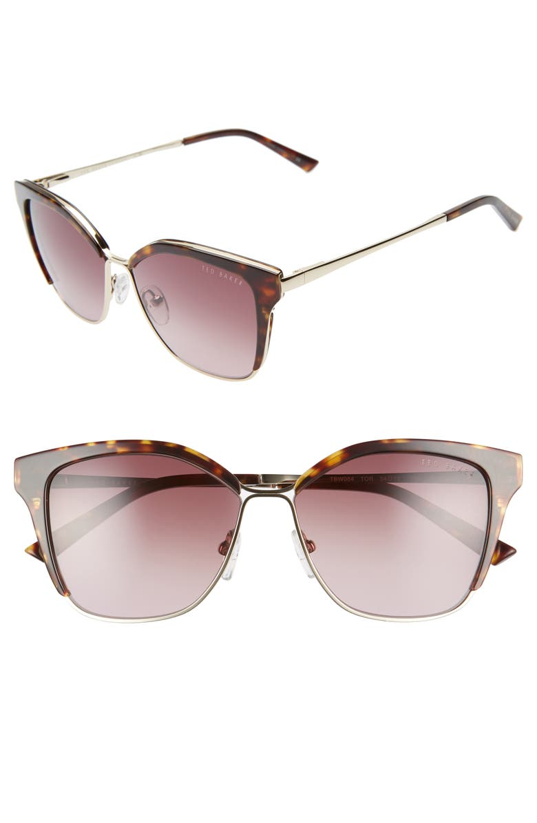 TED BAKER LONDON 54mm Gradient Square Sunglasses, Main, color, TORTOISE