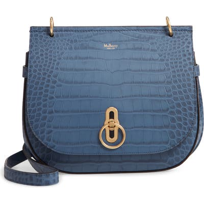 Mulberry Amberley Croc Embossed Leather Crossbody Bag - Blue