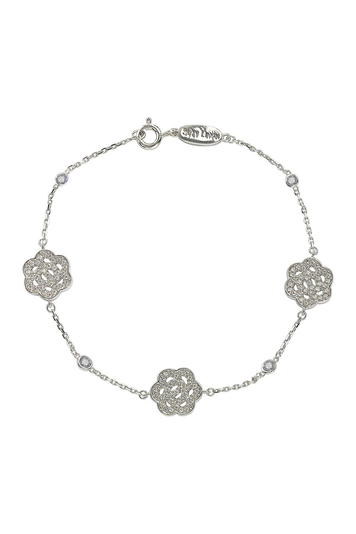 Image of Suzy Levian Sterling Silver Sapphire & Diamond Accent Flowers Station Bracelet