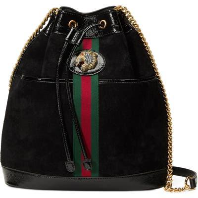 Gucci Linea Rajah Suede Bucket Bag - Black