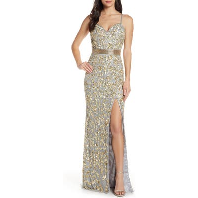 MAC Duggal Sleeveless Sequin Gown, Grey