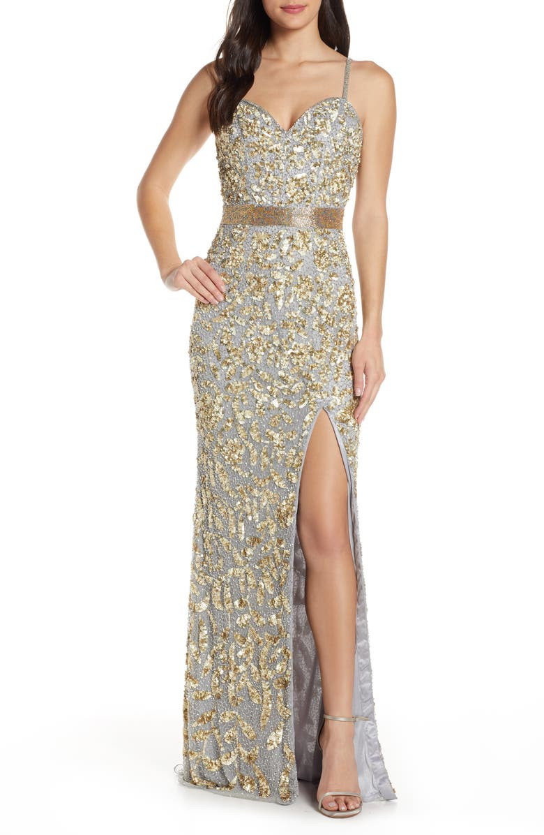 MAC DUGGAL Sleeveless Sequin Gown, Main, color, PLATINUM GOLD