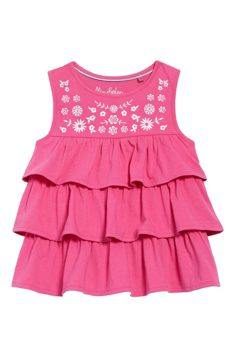 MINI BODEN Embroidered Ruffle Top, Main, color, POP PANSY PINK