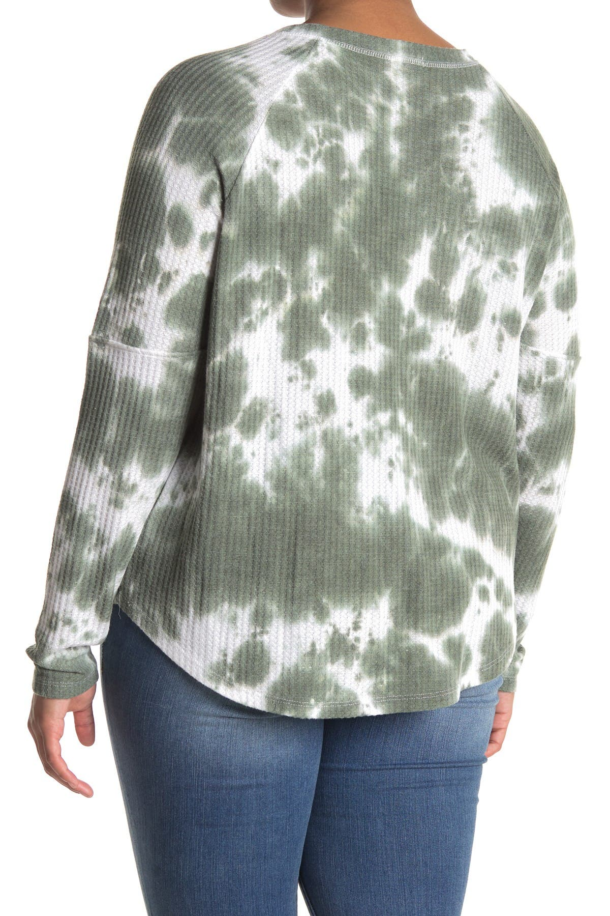 Image of Sweet Romeo Tie Dye Waffle Knit Thermal w/ Thumb Holes