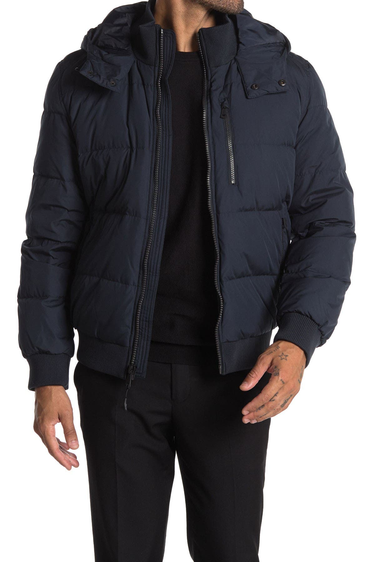 Image of Cole Haan Soft Touch Hooded Bomber Jacket