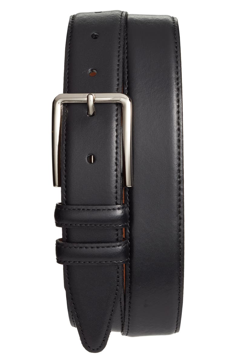 NORDSTROM MEN'S SHOP Mercer Leather Belt, Main, color, BLACK