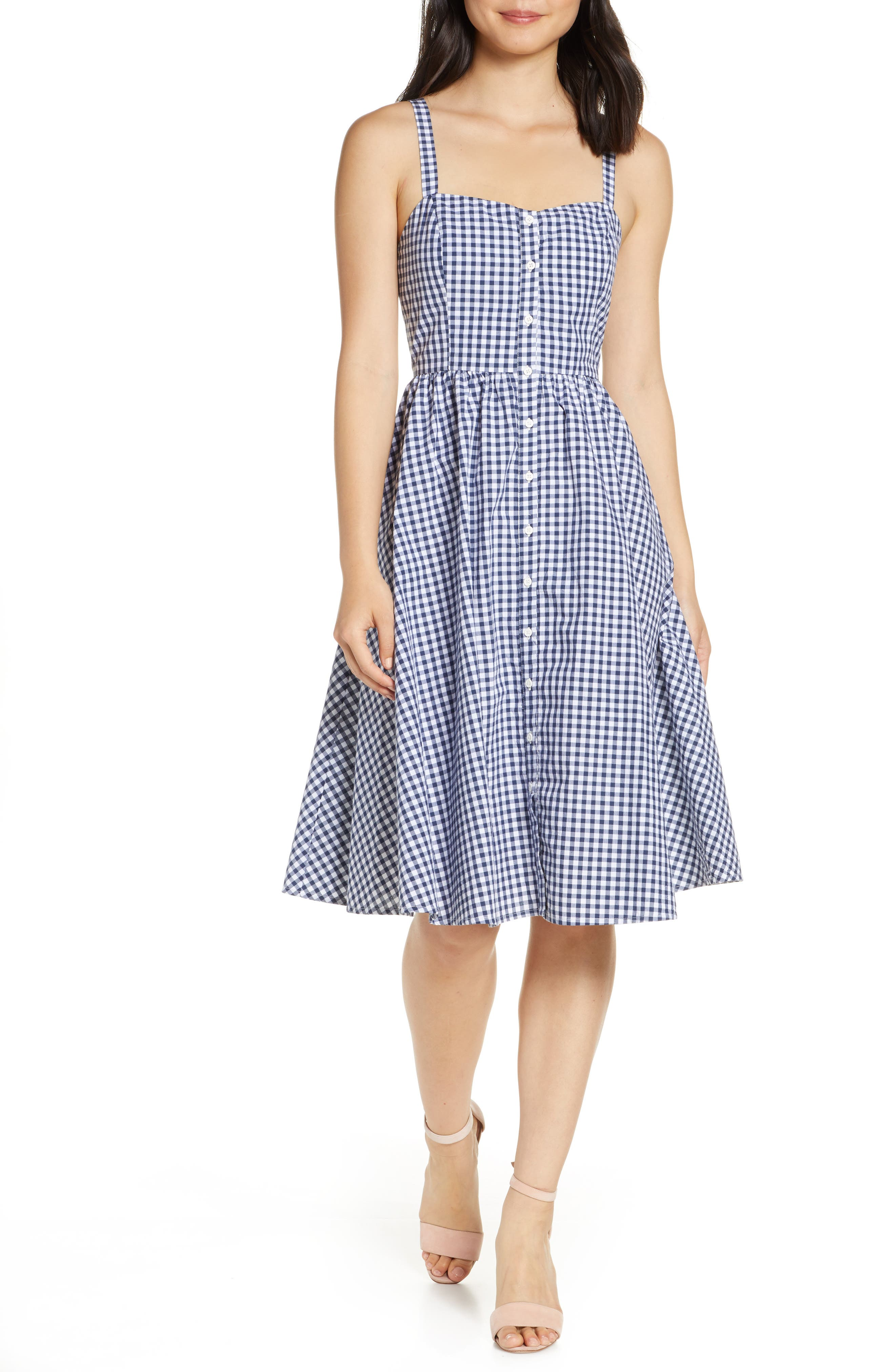 French Connection Gingham Fit & Flare Sundress, Blue