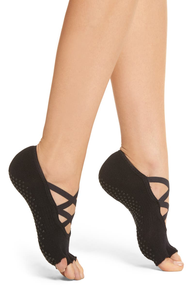 TOESOX Elle Half Toe Gripper Socks, Main, color, BLACK