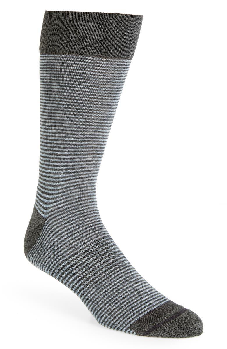 NORDSTROM MEN'S SHOP Feeder Stripe Socks, Main, color, BLUE/ GREY