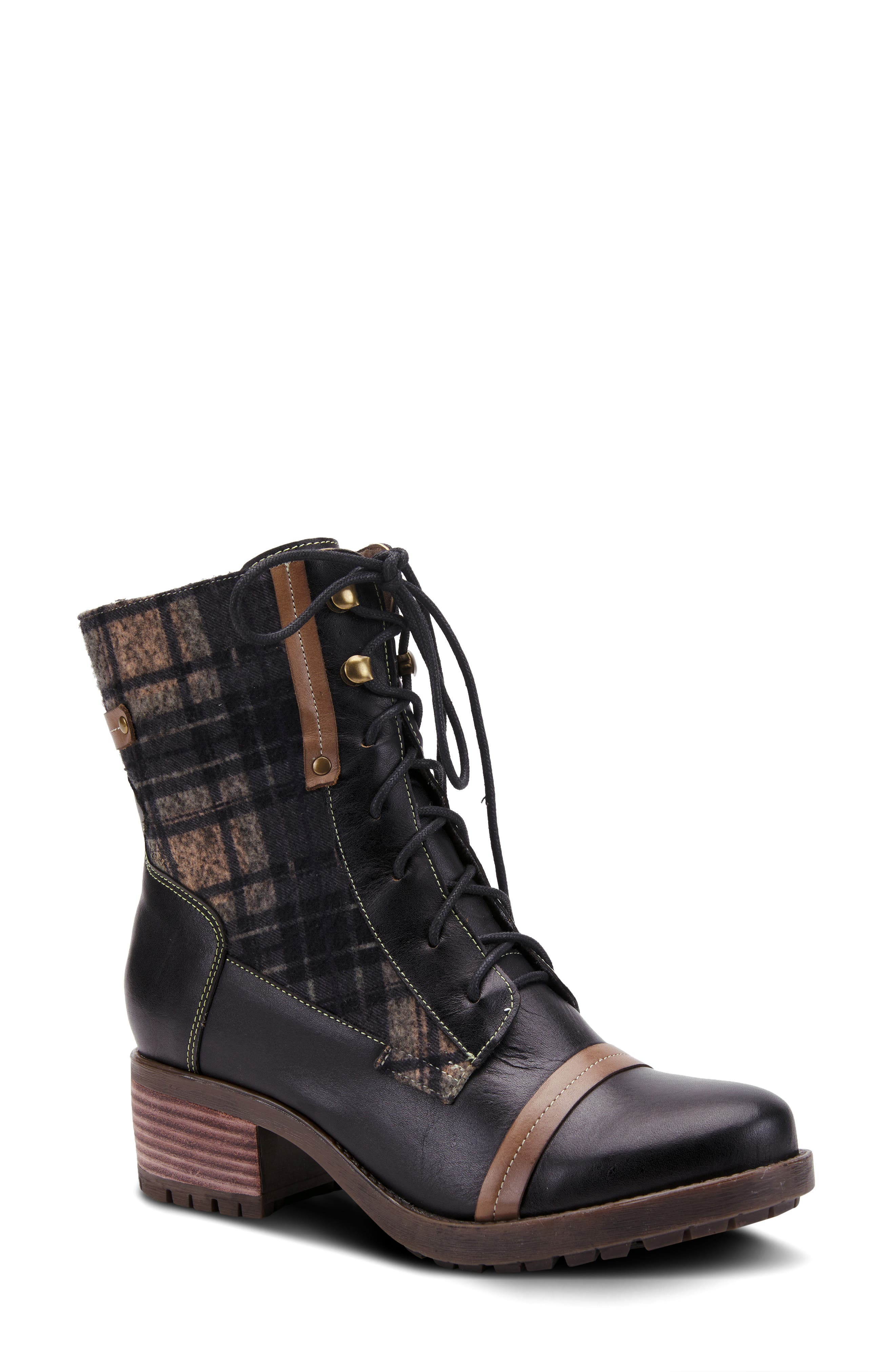 Hand-painted leather and plaid flannel create fashionable contrast on this workwear-inspired boot cushioned with a softly padded footbed. Style Name:L\\\'Artiste Eguine Lace-Up Bootie (Women). Style Number: 6117403. Available in stores.
