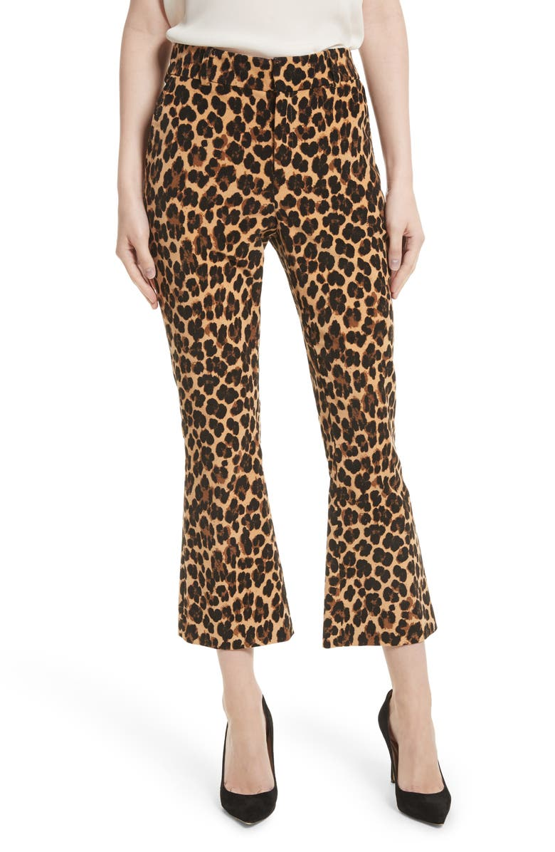 FRAME Cheetah Print Velvet Crop Flare Pants, Main, color, 200