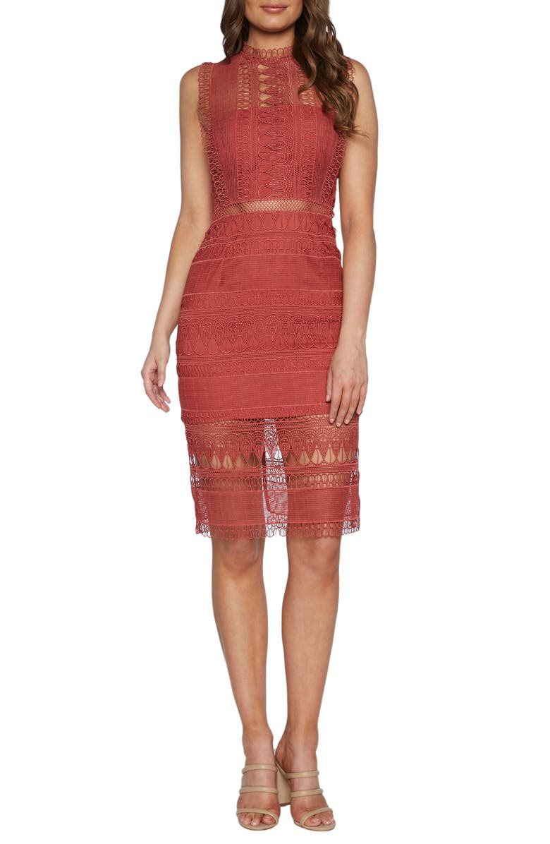 BARDOT Mariana Lace Body-Con Dress, Main, color, MOROCCAN ROSE