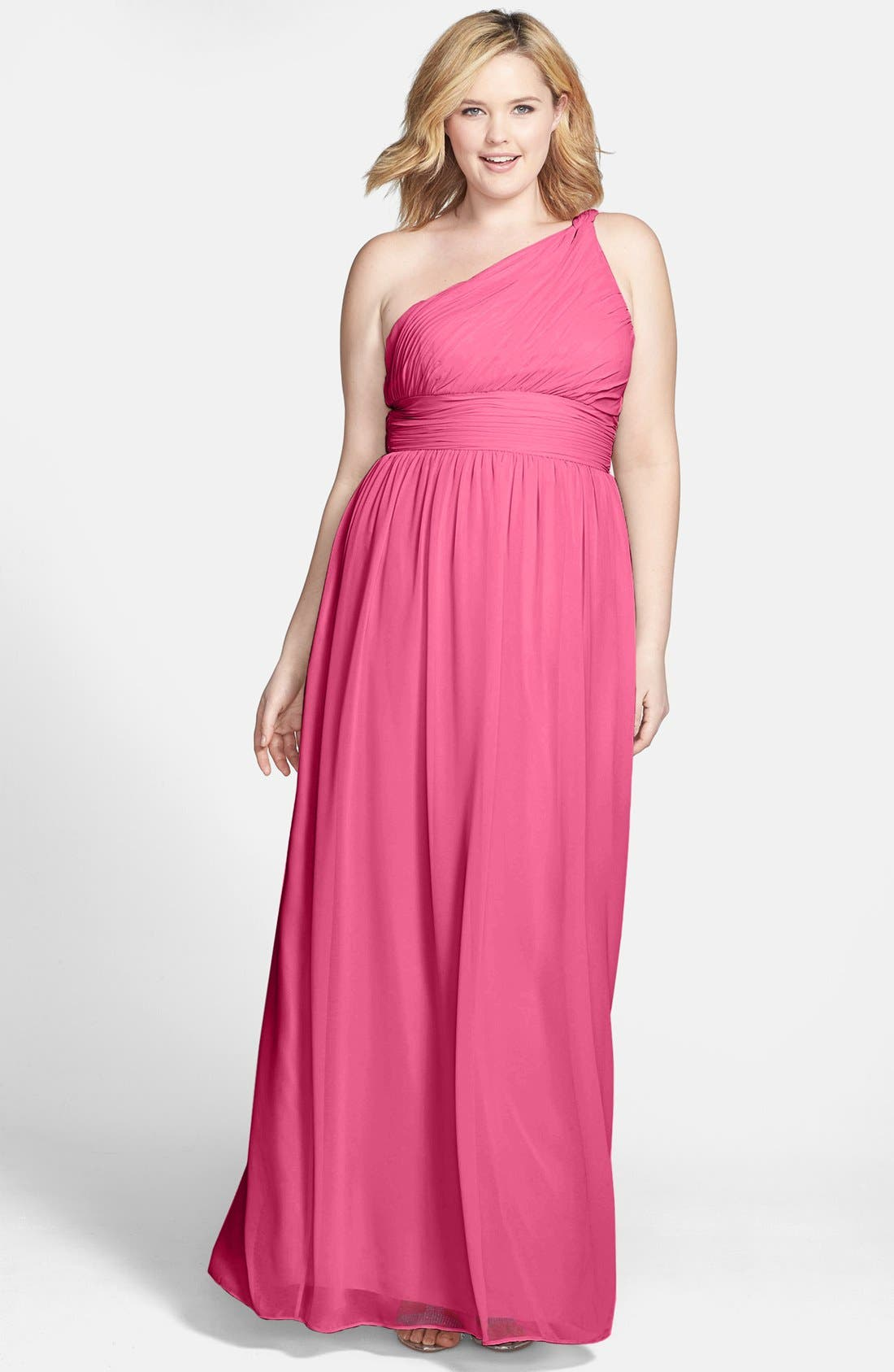 ,                             'Rachel' Ruched One-Shoulder Chiffon Gown,                             Alternate thumbnail 114, color,                             653
