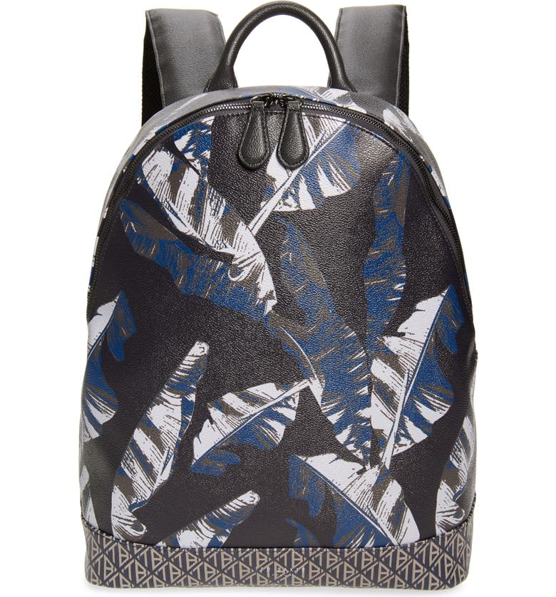 TED BAKER LONDON Faux Leather Print Backpack, Main, color, NAVY