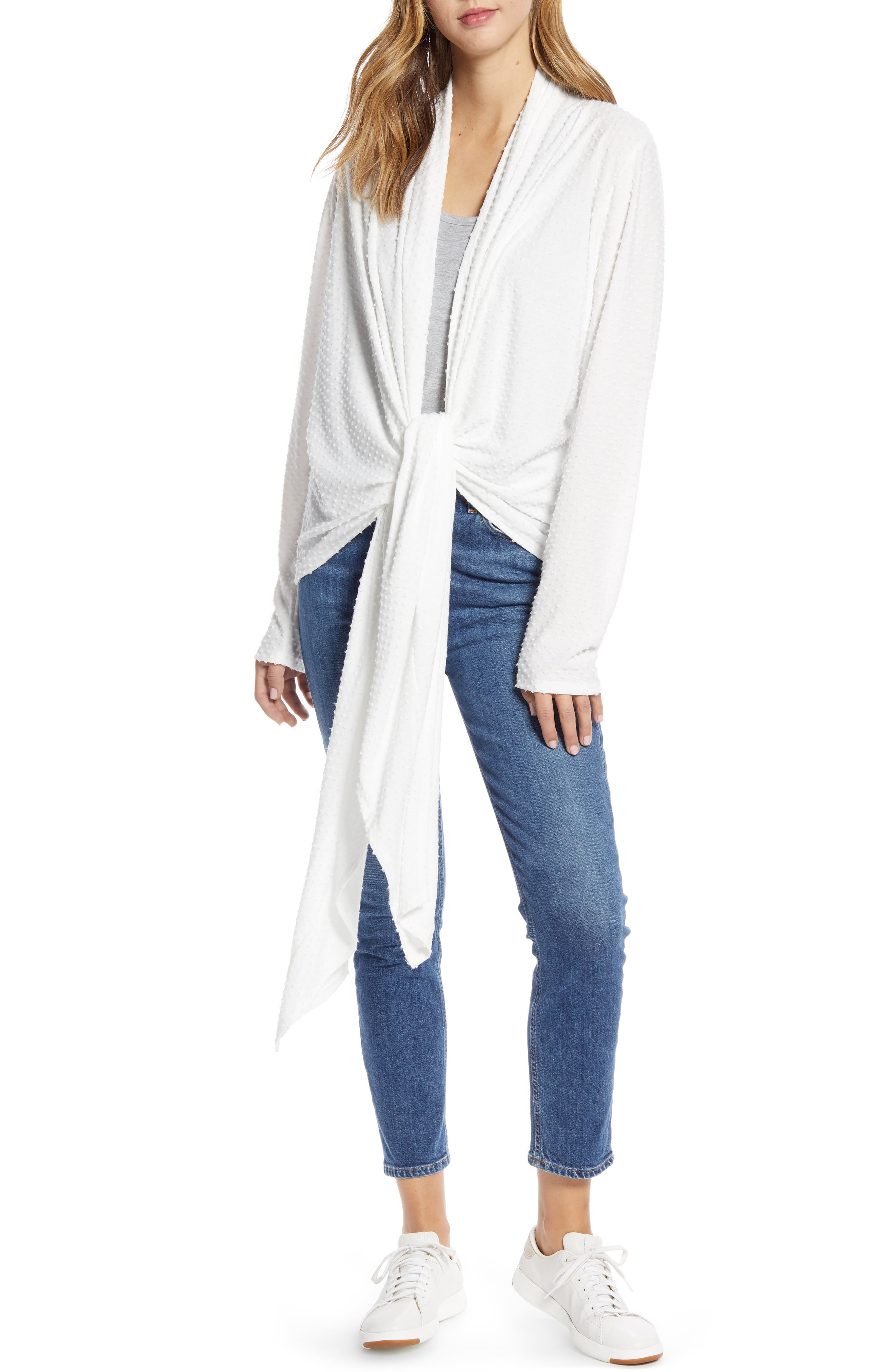 Elevate your cozy look in this stretch-knit cardi, designed with a comfy shawl collar and drapey front tie. Style Name: Loveappella Drape Tie Front Cardigan. Style Number: 5942357. Available in stores.