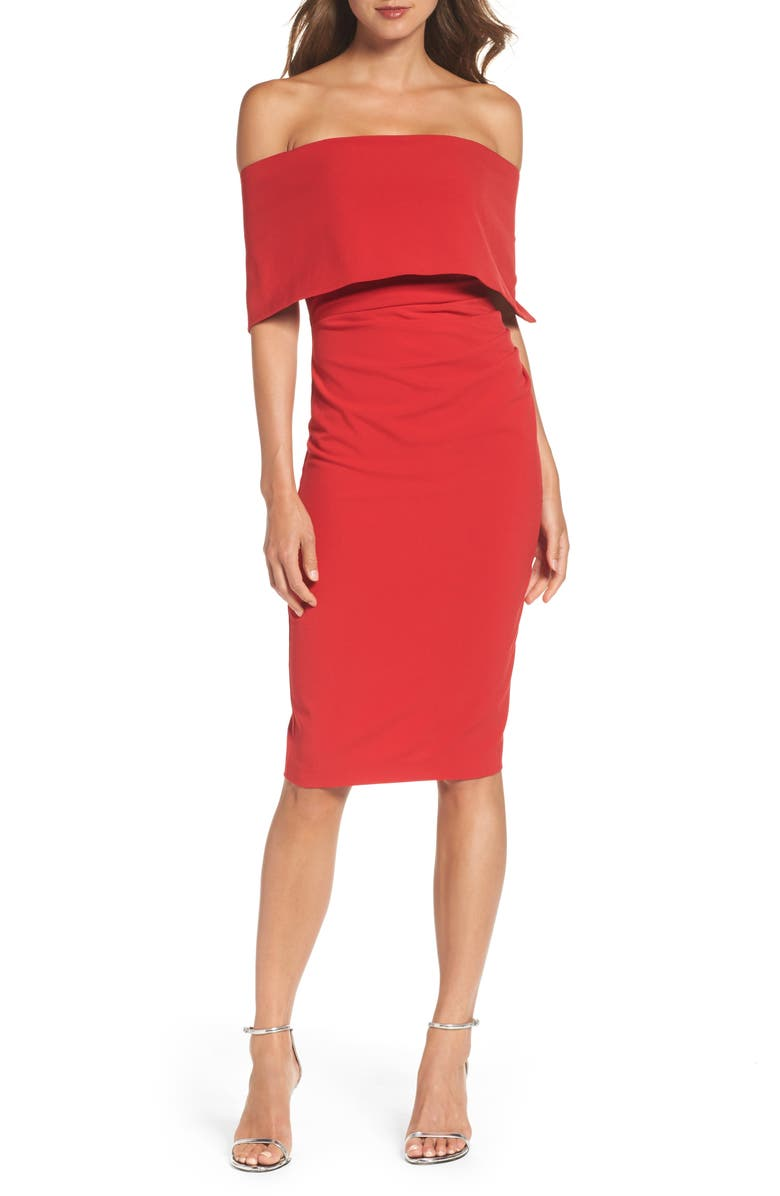 VINCE CAMUTO Popover Cocktail Dress, Main, color, RED