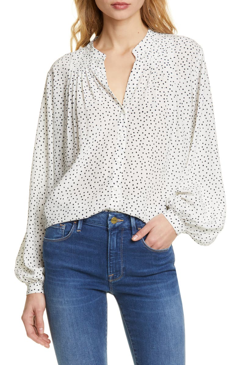 FRAME Polka Dot Pleated Silk Blouse, Main, color, OFF WHITE MULTI
