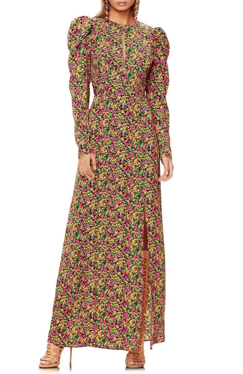 AFRM Kiley Lattice Back Long Sleeve Maxi Dress, Main, color, 700