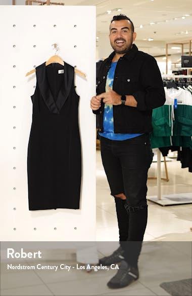 Shawl Collar Sleeveless Tuxedo Sheath Dress, sales video thumbnail